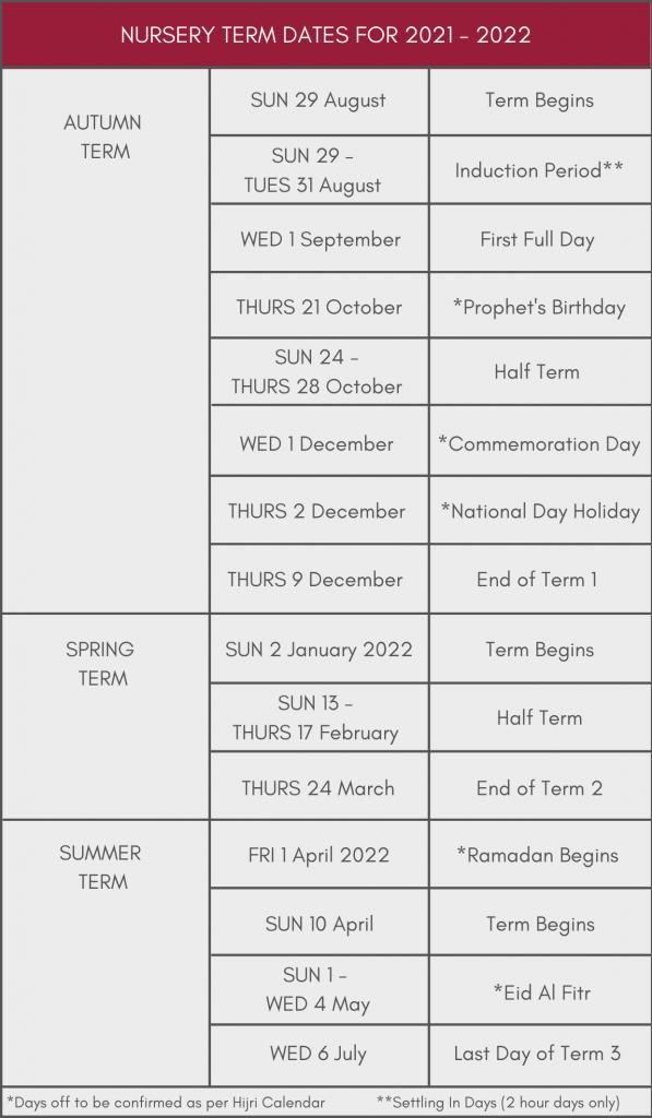 Academic Term Dates in Dubai